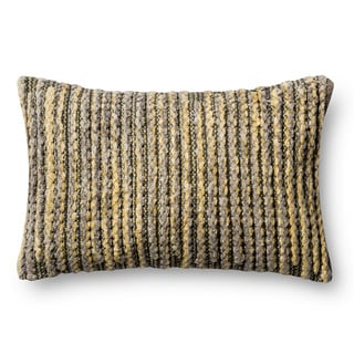 Woven Gold/ Green Multi Stripe Feather and Down Filled or Polyester Filled 12 x 22 Throw Pillow or Pillow Cover