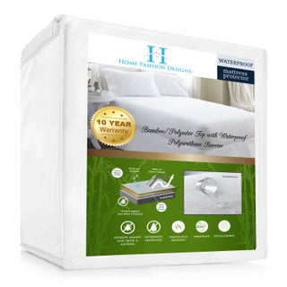 Home Fashion Designs Rayon from Bamboo Hypoallergenic Waterproof Mattress Protector - White