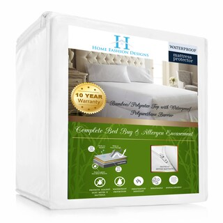 Home Fashion Designs Rayon from Bamboo Hypoallergenic Waterproof Mattress Encasement - White