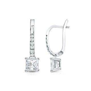 Auriya 14k Gold 3/4ct TDW Princess Cut Diamond Dangle Earrings