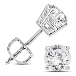 Marquee Jewels 14k White Gold 1 1/4ct TDW IGI Certified Round Diamond Solitaire Stud Earrings