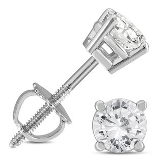 Marquee Jewels 14k White Gold 3/4ct TDW IGI Certified Round Diamond Solitaire Stud Earrings (I2-I3, K-L)