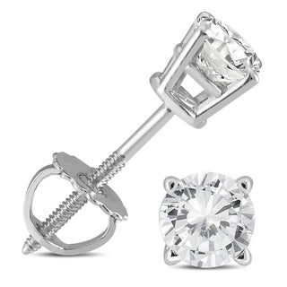 Marquee Jewels 14k White Gold 1/2ct TDW IGI Certified Round Diamond Solitaire Stud Earrings (I2-I3, K-L)