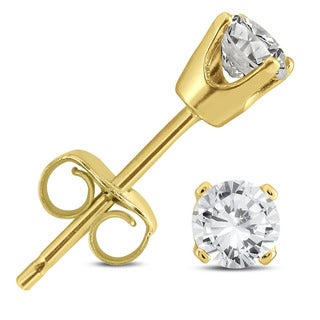 Marquee Jewels 14k Yellow Gold 1/3ct TDW AGS Certified Round Diamond Solitaire Stud Earrings (I2-I3, K-L)