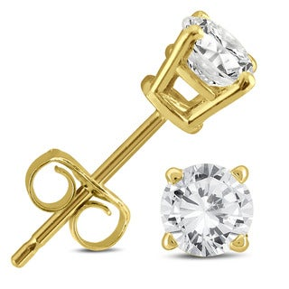 Marquee Jewels 14k Yellow Gold 1/2ct TDW AGS Certified Round Diamond Solitaire Stud Earrings