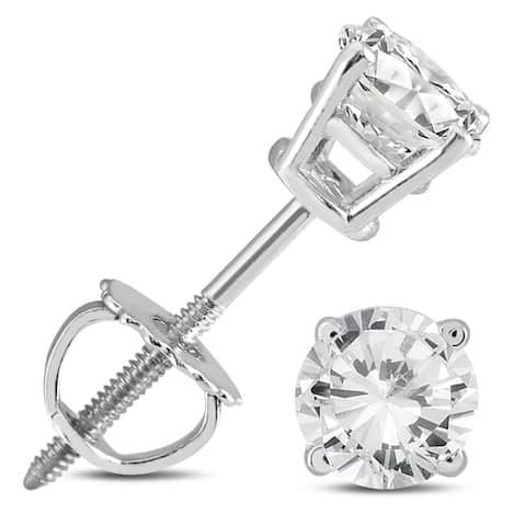Marquee Jewels 14k White Gold 5/8ct TDW AGS Certified Round Diamond Solitaire Stud Earrings
