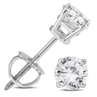 Marquee Jewels 14k White Gold 5/8ct TDW IGI Certified Round Diamond Solitaire Stud Earrings