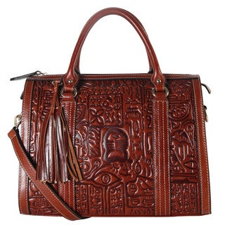 Rimen & Co. Archaize Basso-relievo Brown Genuine Leather Tote Bag with Tassel Accent