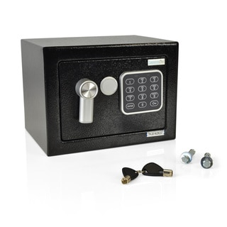 SereneLife Compact Steel Electronic Safe Box with Mechanical Override and Keys
