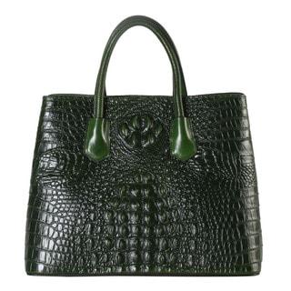Rimen & Co. Leather Crocodile-pattern Large Tote Bag