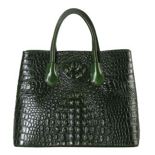 Rimen & Co. Leather Crocodile-pattern Large Tote Bag (Option: Green)|https://ak1.ostkcdn.com/images/products/12927606/P19680955.jpg?impolicy=medium