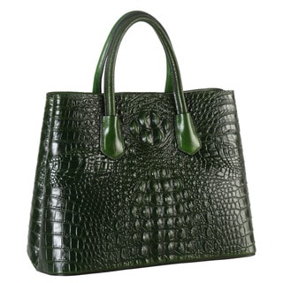 Rimen & Co. Leather Crocodile-pattern Large Tote Bag