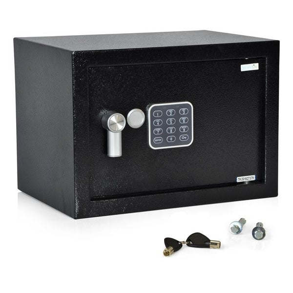 SereneLife SLSFE14 Compact Electronic Safe Box with Mechanical Override, Includes Keys