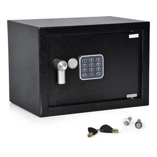 SereneLife SLSFE15 Compact Electronic Safe Box With Mechanical Override (Includes Keys) - Black