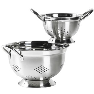 Stainless Steel 2-Piece Footed Colander Set