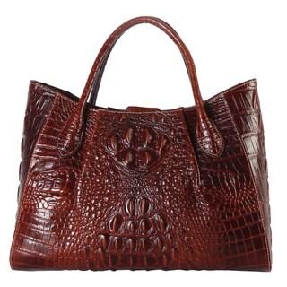 Rimen & Co. Solid Crocodile-pattern Genuine Leather Large Multi-compartment Tote Bag