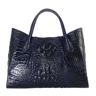 Rimen & Co. Solid Crocodile-pattern Genuine Leather Large Multi-compartment Tote Bag