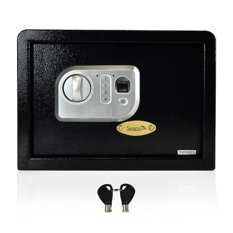 SereneLife SLSFE18FP Electronic Fingerprint Safe Box with Mechanical Override and Keys