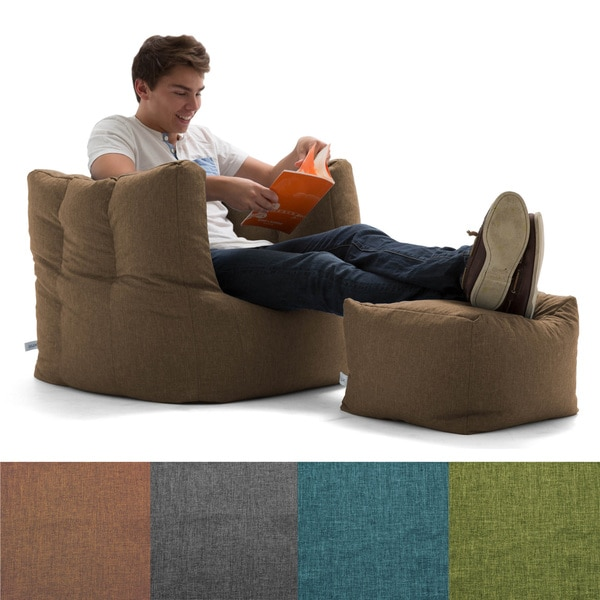 Bean Bag Chairs Big Joe Union Fabric Lux Cube With Ottoman