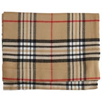 Deluxe Comfort Cashmere Feel Camel New England Plaid Scarf