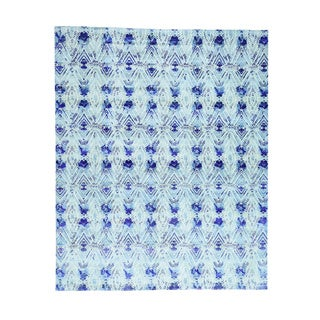 Sari-Silk With Oxidized Wool Hand-Knotted Ikat Design Rug (8'x10')