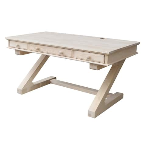 Natural Finish Wooden Executive Desk with Zodiac Base