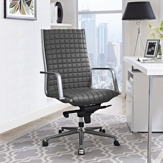 Pattern Black Vinyl and Steel 360-degree Swivel Highback Office Chair