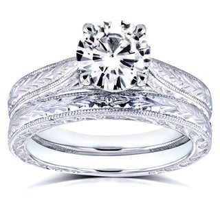 Annello by Kobelli 14k White Gold Forever Brilliant 1 1/2ct TGW Moissanite and Diamond Antique Cathe