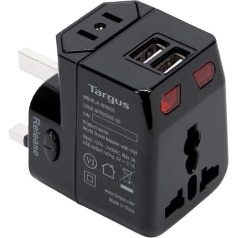 Targus World Travel Power Adapter with Dual USB Charging Ports