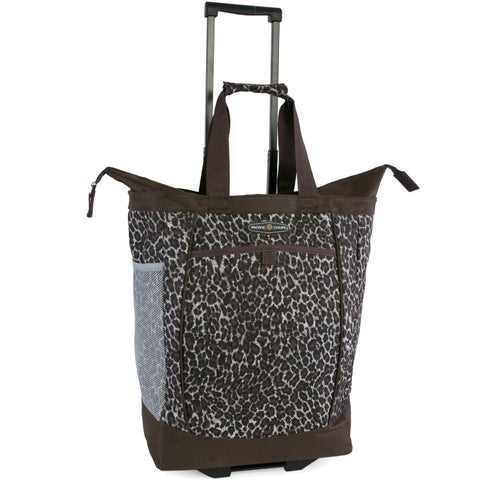Pacific Coast Brown Polyester Leopard-print Rolling Shopper Tote Bag
