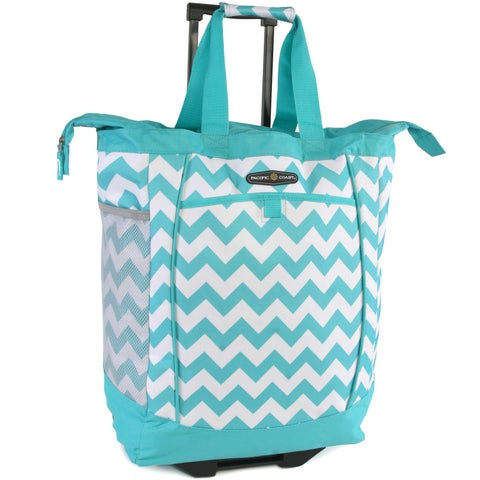 Pacific Coast Teal/White Polyester Chevron Rolling Shopper Tote Bag