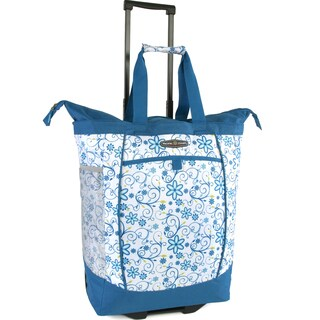 Pacific Coast Blue and White Polyester Daisy Rolling Shopper Tote Bag