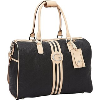 Guess Nona Collection Black Vinyl 18-inch Carry-on Duffle Travel Bag
