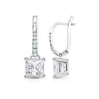 Auriya 14k Gold 2ct TDW Princess Cut Diamond Dangle Earrings