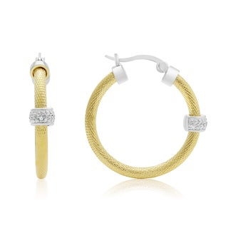 Herringbone Two Tone Diamond Hoop Earrings, Gold Overlay, 1 Inch (J-K, I1-I2)