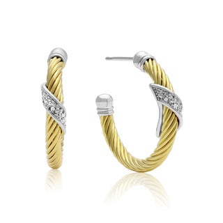 Delicate Two Tone Rope Diamond Hoop Earrings, Gold Overlay, 1 Inch (J-K, I1-I2)