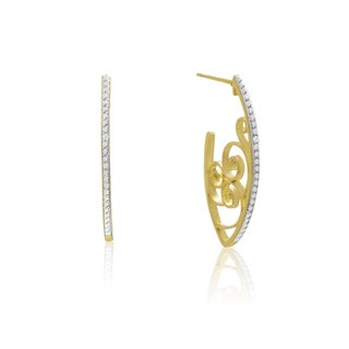 Delicate Diamond Swirl Hoop Earrings, Gold Overlay, 1 Inch (J-K, I1-I2)