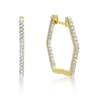 Stylish Diamond Hoop Earrings, Gold Overlay, 3/4 Inch (J-K, I1-I2)