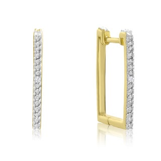 Trendy Diamond Hoop Earrings, Gold Overlay, 3/4 Inch (J-K, I1-I2)