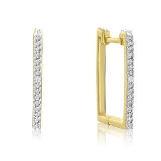 Trendy Diamond Hoop Earrings, Gold Over Brass, 3/4 Inch (J-K, I1-I2)