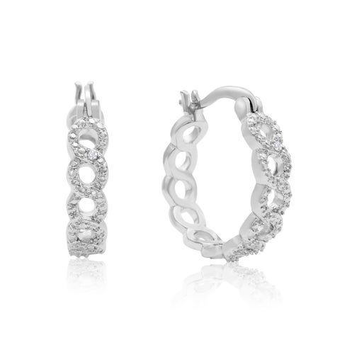 Platinum Over Brass Infinity Diamond Hoop Earrings - 3/4 Inch (J-K, I1-I2)