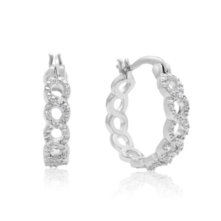 Infinity Diamond Hoop Earrings, Platinum Overlay, 3/4 Inch (J-K, I1-I2)