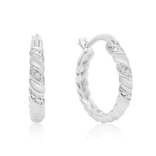 Elegant Swirl Diamond Hoop Earrings, Platinum Overlay, 3/4 Inch (J-K, I1-I2)