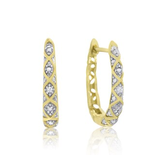 Delicately Embellished Diamond Hoop Earrings, Gold Over Brass, 3/4 Inch (J-K, I1-I2)