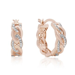 Elegant Diamond Hoop Earrings, Rose Gold Over Brass, 3/4 Inch (J-K, I1-I2)