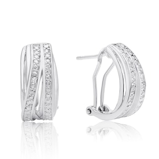Elegant Diamond Half Hoop Earrings, Platinum Overlay, 3/4 Inch (J-K, I1-I2)