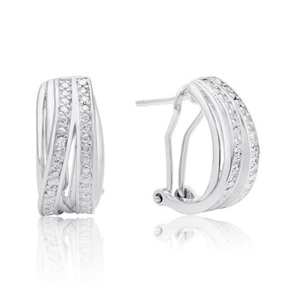 Elegant Diamond Half Hoop Earrings, Platinum Over Brass, 3/4 Inch (J-K, I1-I2)