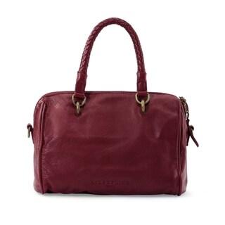 Liebeskind Berline Pretty Vintage Dark Red Grape Leather Satchel Handbag