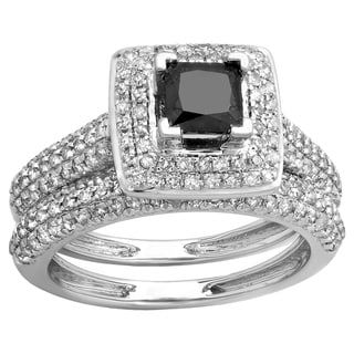 10K Gold 1 3/8ct TDW Princess & Round Cut Black & White Diamond Halo Engagement Ring Set (H-I & Black, I1-I2 & Opaque)