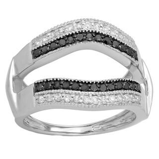 Elora 14K Gold 1/2 ct. TDW Round Black & White Diamond Double Row Wedding Millgrain Guard Double Band (H-I